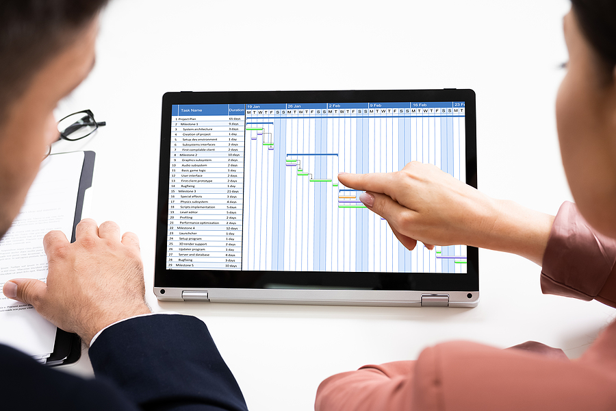 Two employees looking at a timesheet software installed in their computer